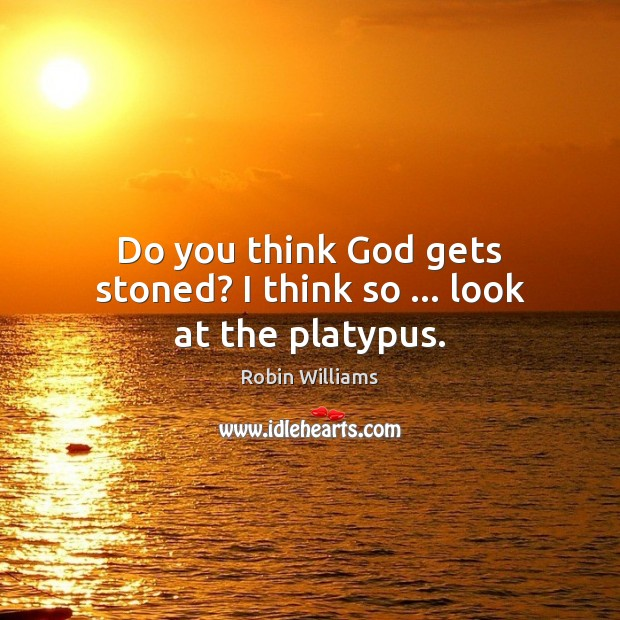 Do you think God gets stoned? I think so … look at the platypus. Image