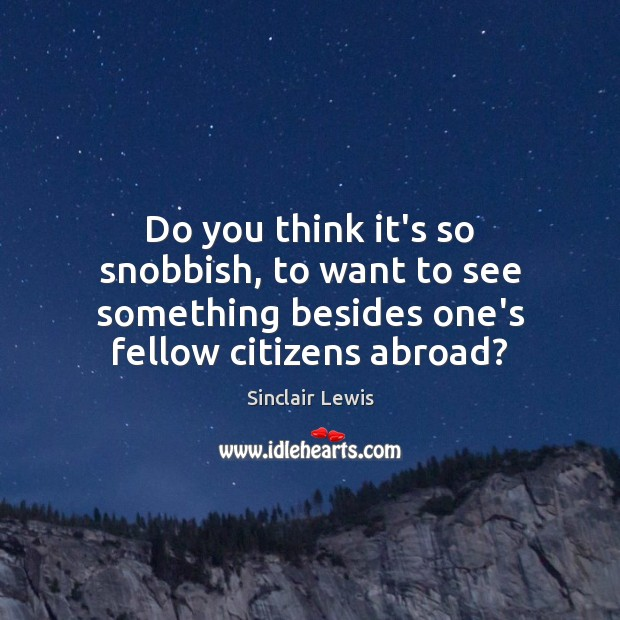 Do you think it's so snobbish, to want to see something besides Sinclair Lewis Picture Quote