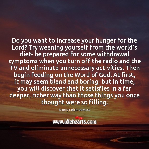 Do you want to increase your hunger for the Lord? Try weaning Image