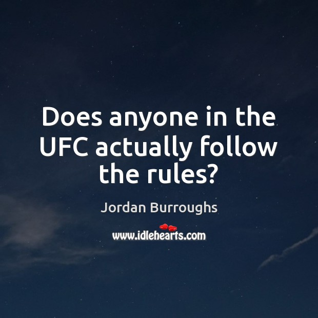 Does anyone in the UFC actually follow the rules? Image