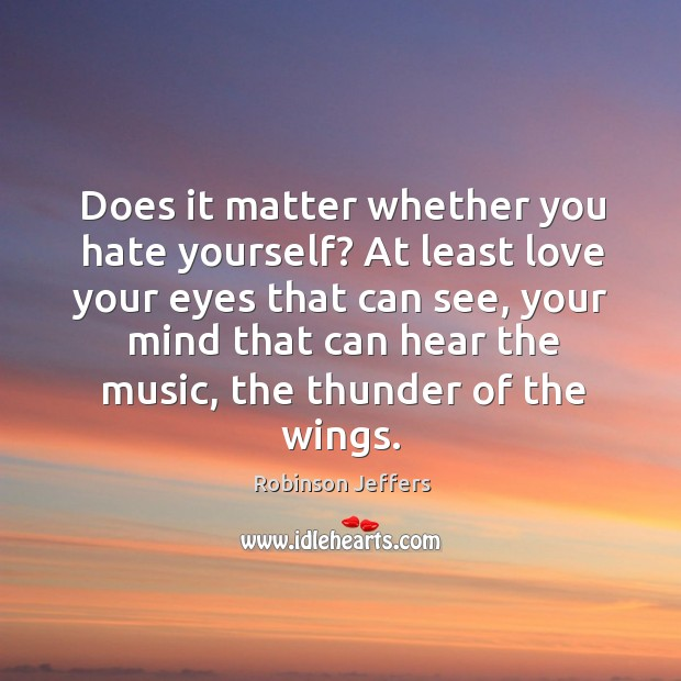 Does it matter whether you hate yourself? At least love your eyes Robinson Jeffers Picture Quote