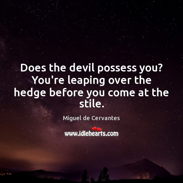 Does the devil possess you? You're leaping over the hedge before you come at the stile. Miguel de Cervantes Picture Quote