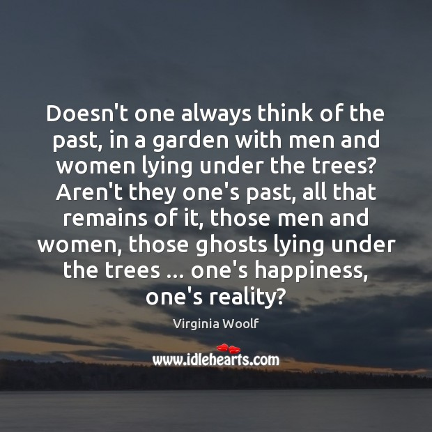 Doesn't one always think of the past, in a garden with men Image