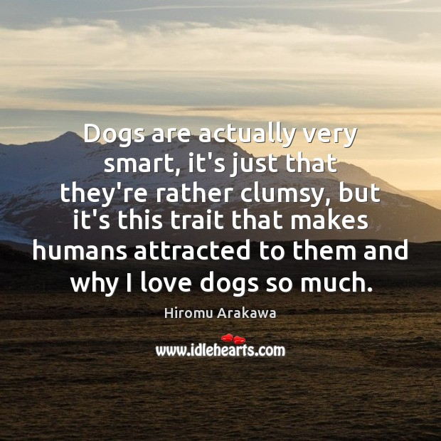 Dogs are actually very smart, it's just that they're rather clumsy, but Hiromu Arakawa Picture Quote