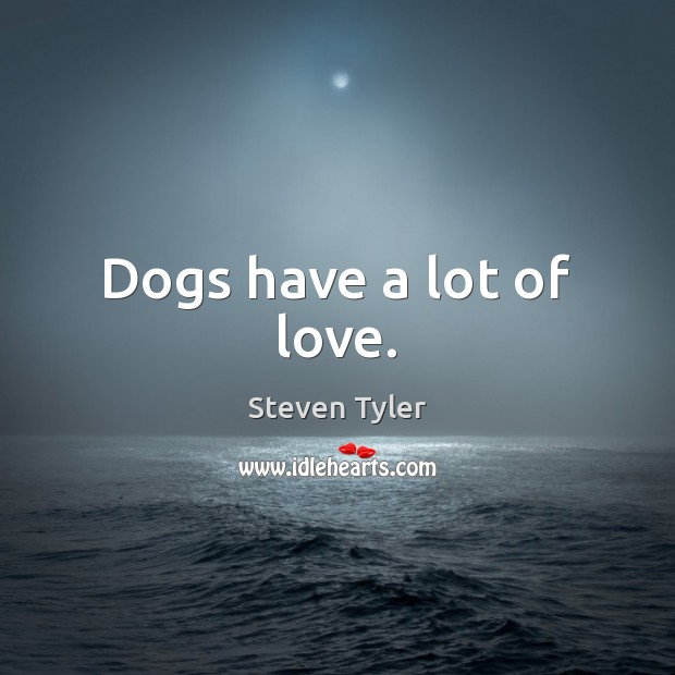 Dogs have a lot of love. Steven Tyler Picture Quote