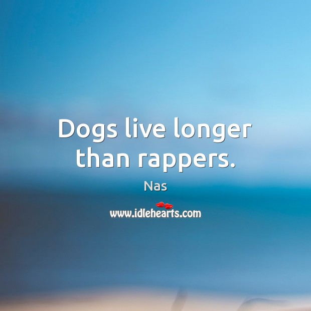 Dogs live longer than rappers. Nas Picture Quote