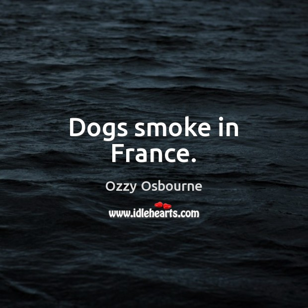 Dogs smoke in France. Ozzy Osbourne Picture Quote