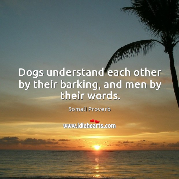 Dogs understand each other by their barking, and men by their words. Somali Proverbs Image