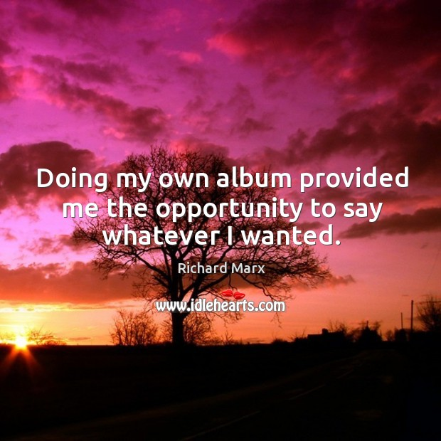 Doing my own album provided me the opportunity to say whatever I wanted. Richard Marx Picture Quote