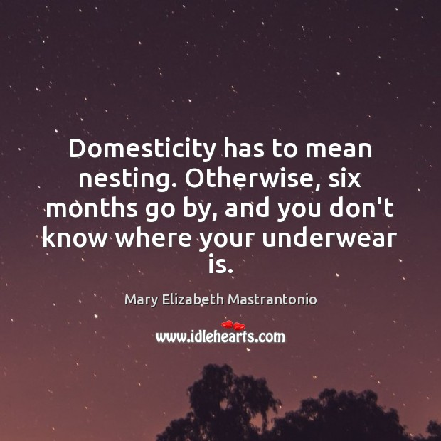 Domesticity has to mean nesting. Otherwise, six months go by, and you Image