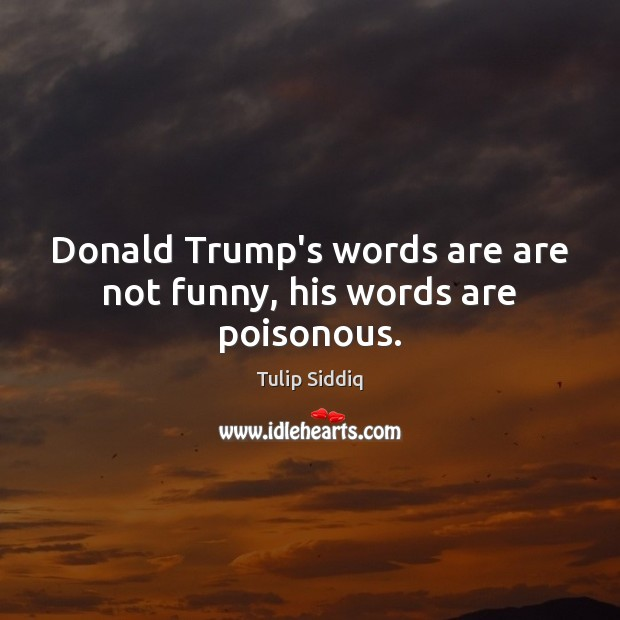 Donald Trump's words are are not funny, his words are poisonous. Image
