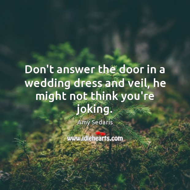 Don't answer the door in a wedding dress and veil, he might not think you're joking. Amy Sedaris Picture Quote