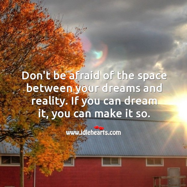 Don't be afraid of the space between your dreams and reality. Image