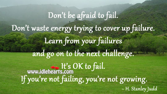 Don't Be Afraid To Fail. Don't Waste Energy Trying To Cover Up Failure.