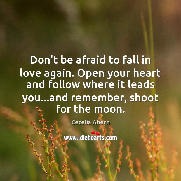 Don't be afraid to fall in love again. Open your heart and Don't Be Afraid Quotes Image