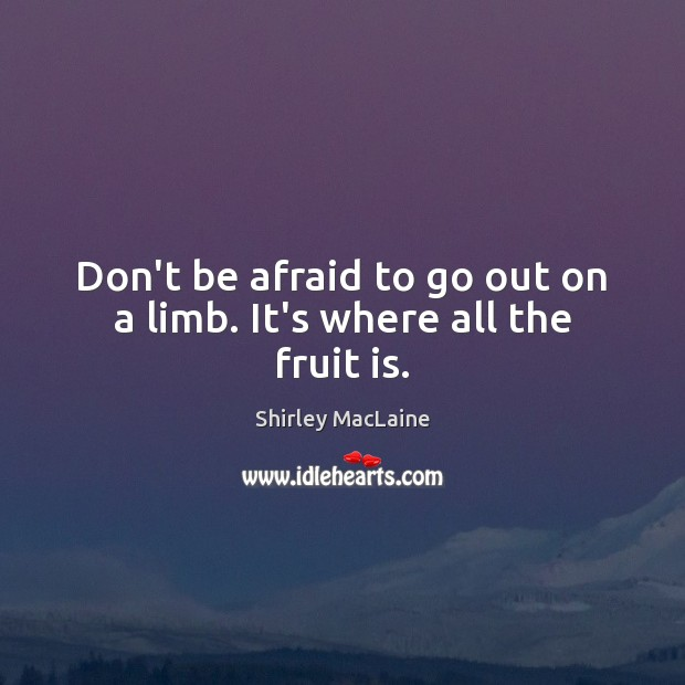 Don't be afraid to go out on a limb. It's where all the fruit is. Shirley MacLaine Picture Quote