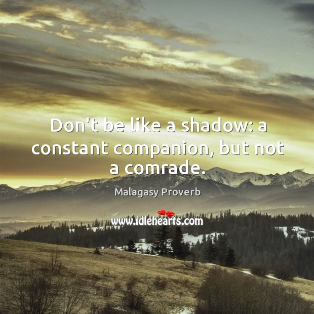 Don't be like a shadow: a constant companion, but not a comrade. Malagasy Proverbs Image