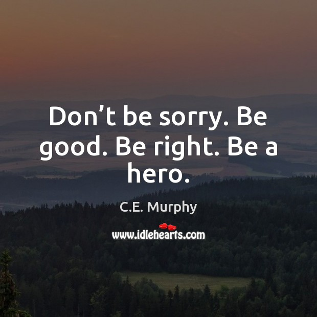 Image, Don't be sorry. Be good. Be right. Be a hero.