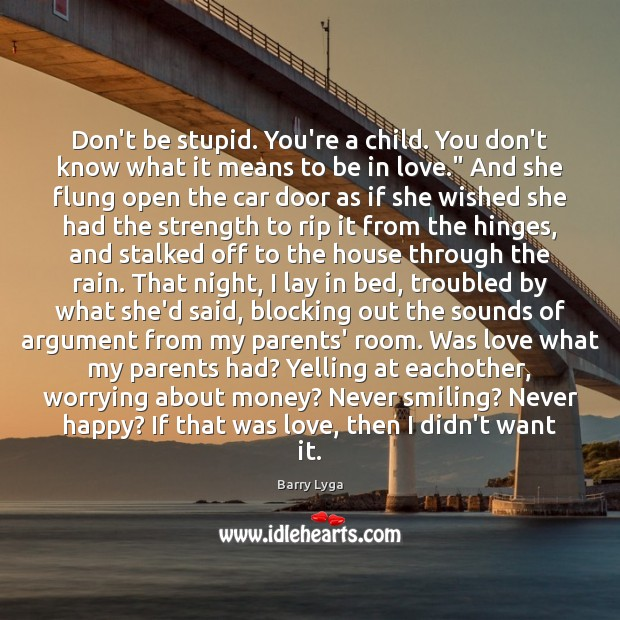 Don't be stupid. You're a child. You don't know what it means Image