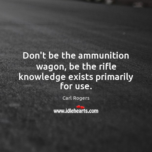 Don't be the ammunition wagon, be the rifle knowledge exists primarily for use. Image