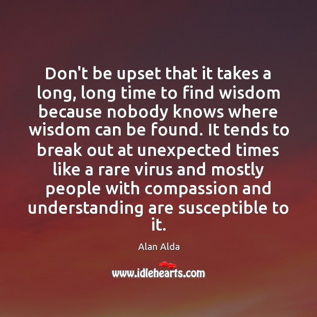 Don't be upset that it takes a long, long time to find Alan Alda Picture Quote