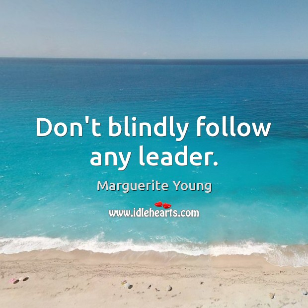 Don't blindly follow any leader. Image
