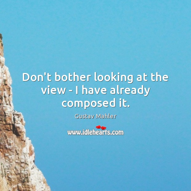 Don't bother looking at the view – I have already composed it. Image