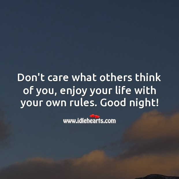 Don't care what others think of you, enjoy your life with your own rules. Good Night Quotes for Love Image