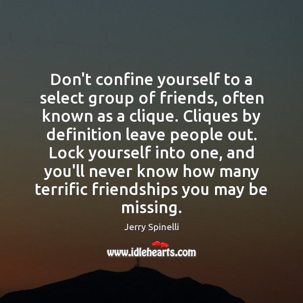 Don't confine yourself to a select group of friends, often known as Jerry Spinelli Picture Quote