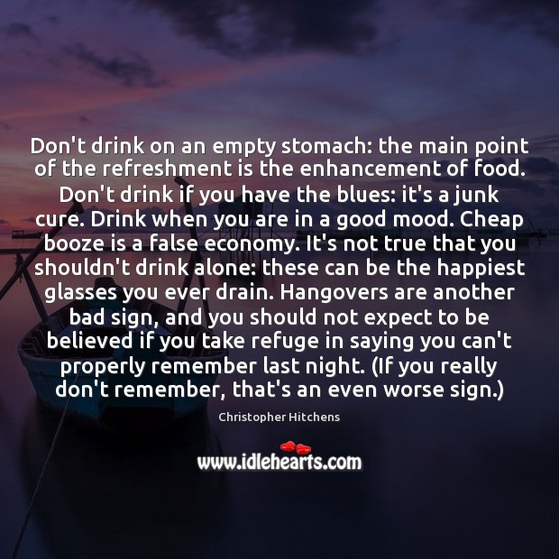 Don't drink on an empty stomach: the main point of the refreshment Image