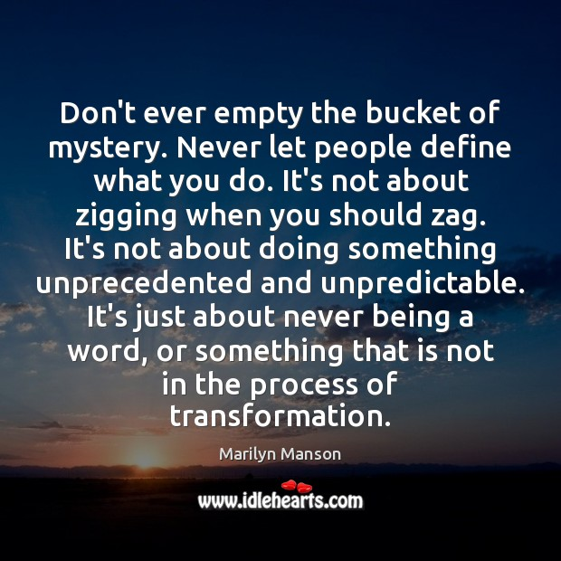 Don't ever empty the bucket of mystery. Never let people define what Image