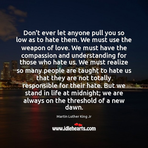 Don't ever let anyone pull you so low as to hate them. Don't Ever Let Quotes Image