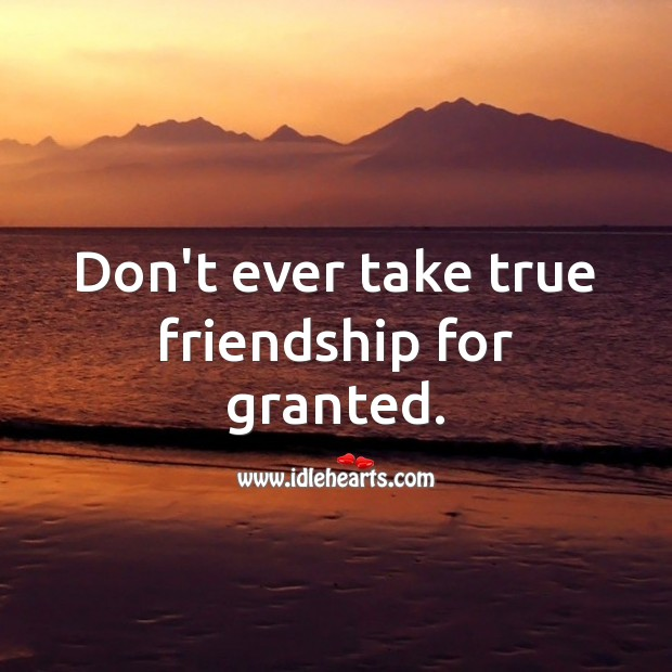 Don't ever take true friendship for granted. True Friends Quotes Image