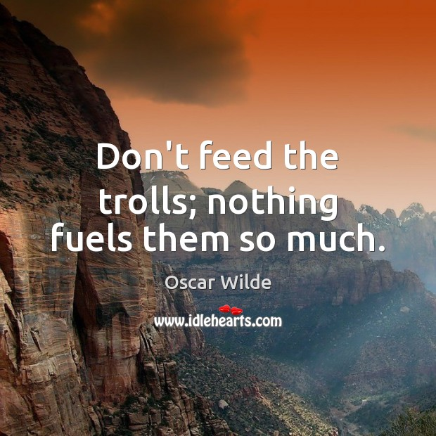 Image, Don't feed the trolls; nothing fuels them so much.