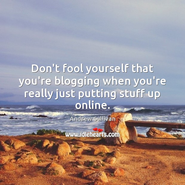Don't fool yourself that you're blogging when you're really just putting stuff up online. Andrew Sullivan Picture Quote