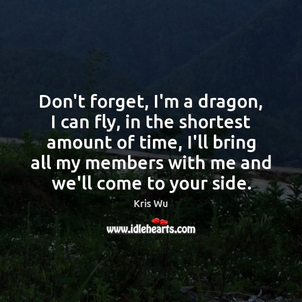 Don't forget, I'm a dragon, I can fly, in the shortest amount Image