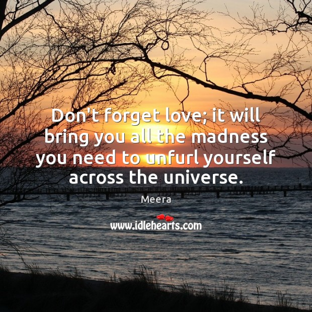 Image, Don't forget love; it will bring you all the madness you need