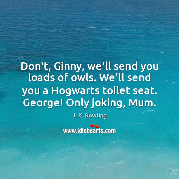 Don't, Ginny, we'll send you loads of owls. We'll send you a J. K. Rowling Picture Quote