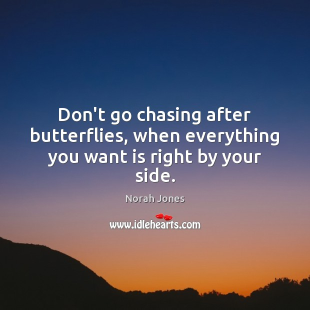 Don't go chasing after butterflies, when everything you want is right by your side. Norah Jones Picture Quote