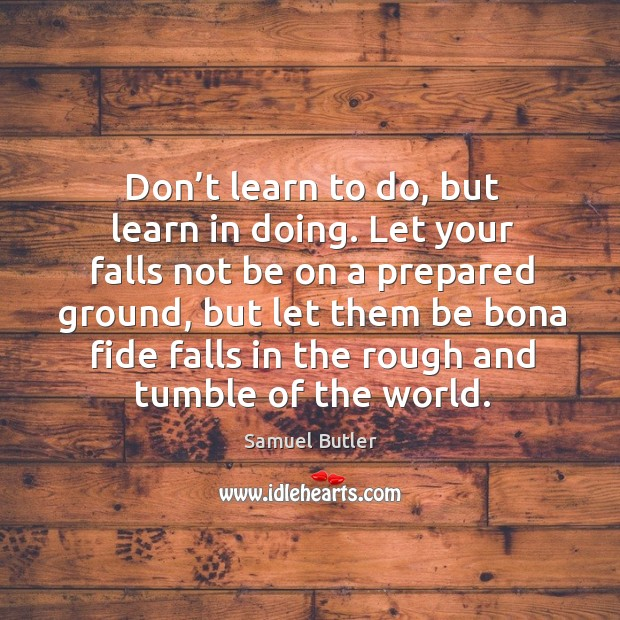 Don't learn to do, but learn in doing. Image