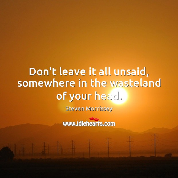 Don't leave it all unsaid, somewhere in the wasteland of your head. Steven Morrissey Picture Quote