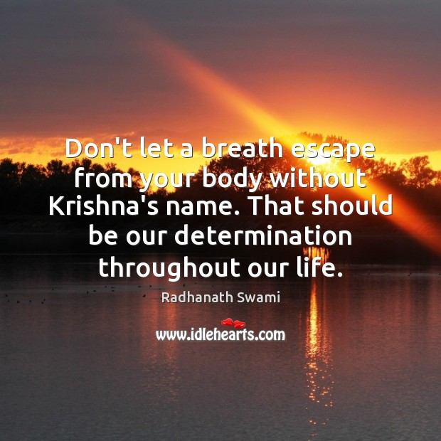 Don't let a breath escape from your body without Krishna's name. That Radhanath Swami Picture Quote