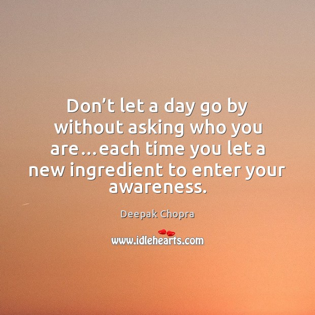 Don't let a day go by without asking who you are… Deepak Chopra Picture Quote