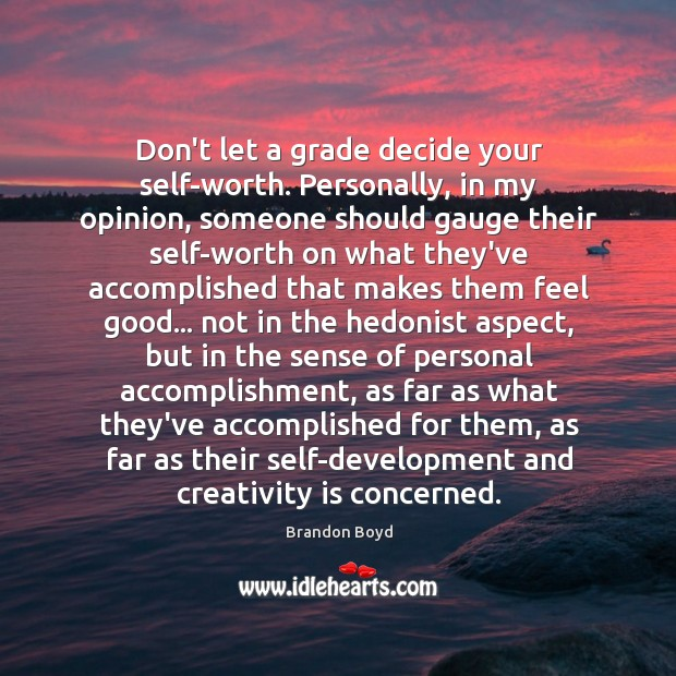 Don't let a grade decide your self-worth. Personally, in my opinion, someone Brandon Boyd Picture Quote