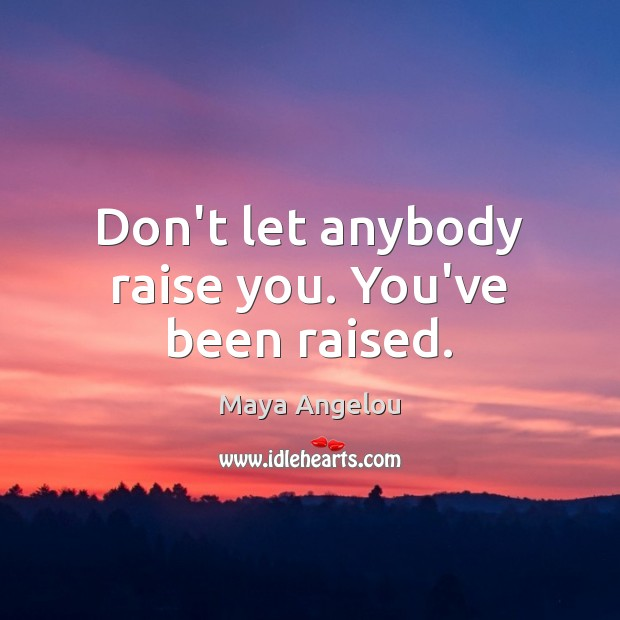 Don't let anybody raise you. You've been raised. Image