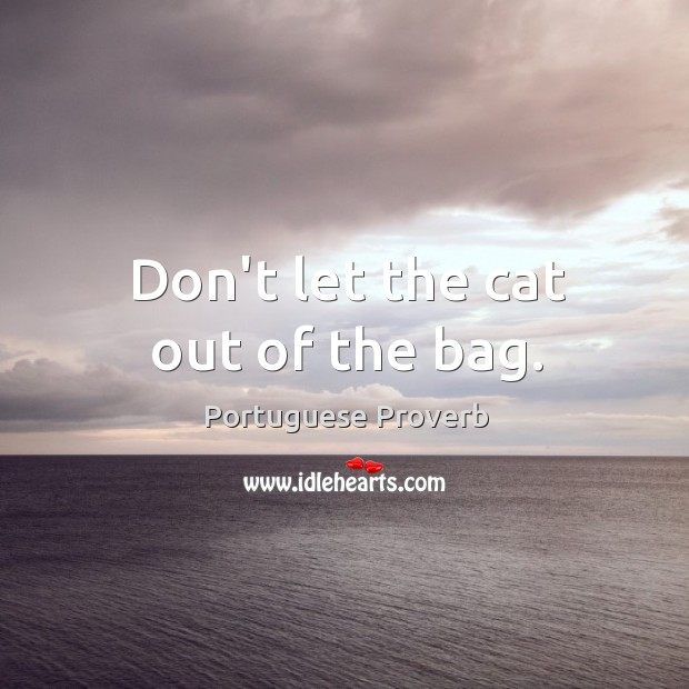 Don't let the cat out of the bag. Image