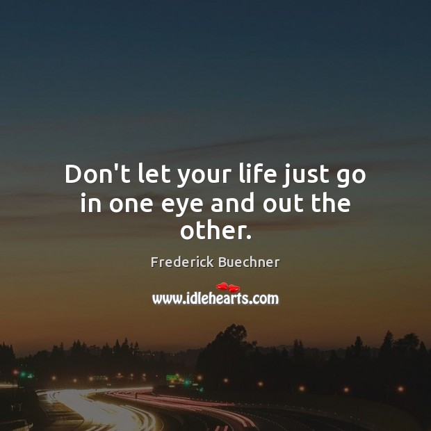 Don't let your life just go in one eye and out the other. Frederick Buechner Picture Quote