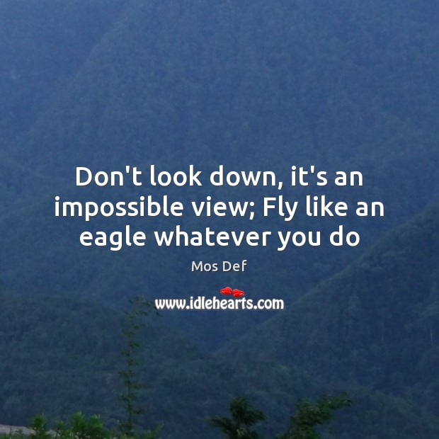 Don't look down, it's an impossible view; Fly like an eagle whatever you do Mos Def Picture Quote