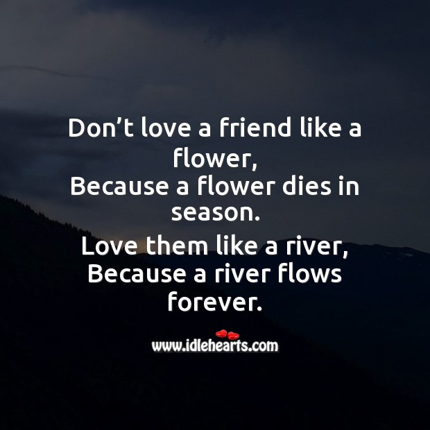 Don't love a friend like a flower Friendship Day Messages Image
