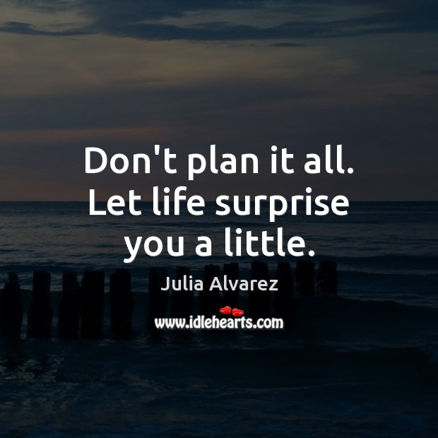 Don't plan it all. Let life surprise you a little. Plan Quotes Image